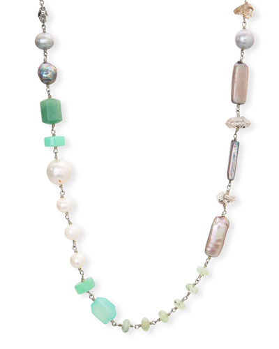 Long Mixed-Stone & Pearl Necklace