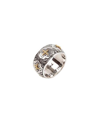 Cross Milgrain Band Ring, Size 7