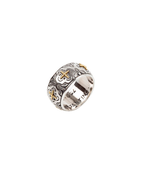 Konstantino Cross Milgrain Band Ring, Size 7