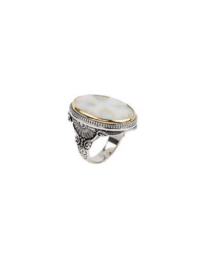 Mother-of-Pearl Cross Ring, Size 7