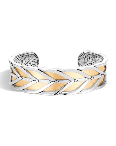 Modern Chain 18K Gold & Silver Medium Cuff