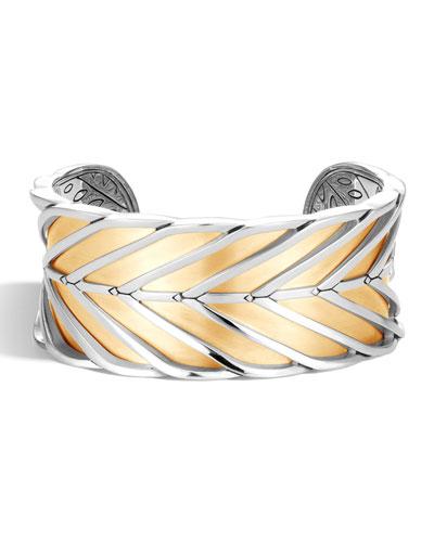 Modern Chain 18K Gold & Silver Large Cuff, Size M