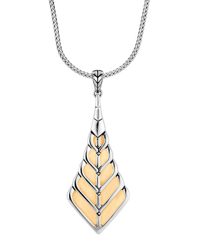 Modern Chain 18K Gold & Silver Pendant Necklace