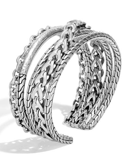 John Hardy Asli Classic Chain Link & Hammered Flex Cuff, Size S-M