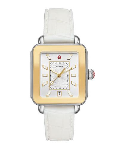 Deco Sport Two-Tone Watch w/ Silicone Strap, White