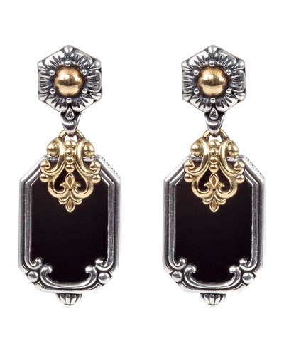 Hestia Octagonal Onyx Drop Earrings