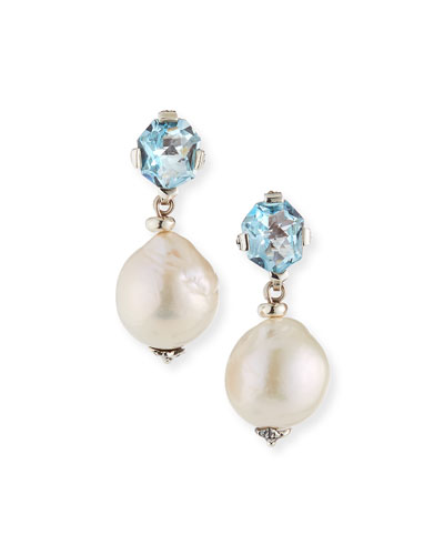 Blue Topaz & Baroque Pearl Drop Earrings