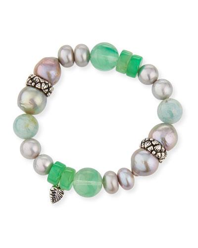 Silver Pearl & Chrysoprase Bracelet