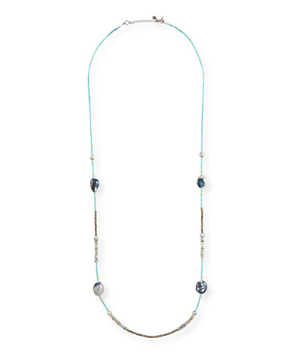 Old World Long Mixed-Stone & Pearl Necklace, 40