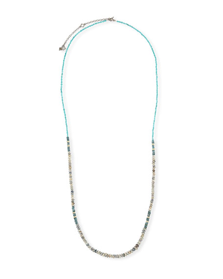 Armenta Old World Long Turquoise, Opal & Kyanite Necklace