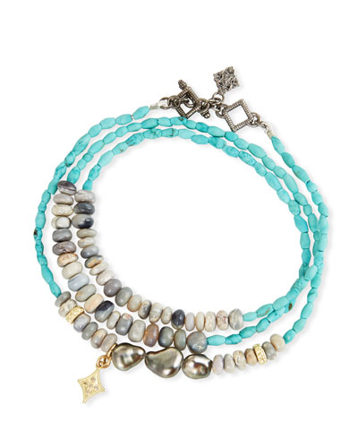 Old World Triple-Wrap Pearl, Turquoise & Opal Bracelet