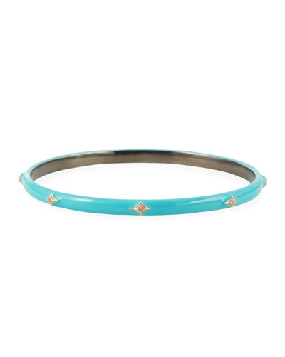 New World Enamel Bangle w/ 14k Gold Crivelli, Turquoise, Medium