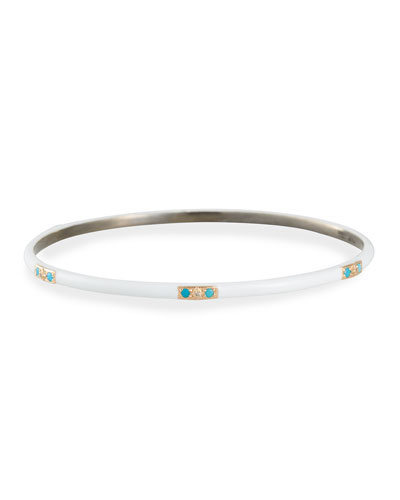 Enamel Bangle w/ Diamonds & Turquoise, Size M