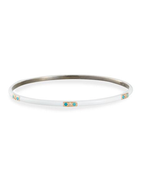 Armenta Enamel Bangle w/ Diamonds & Turquoise, Size M