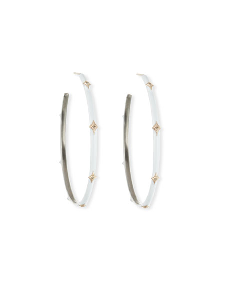 Armenta New World Enamel Earrings w/ 14k Gold Crivelli, White