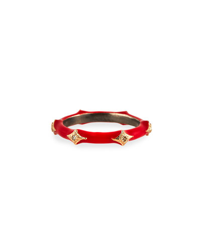 New World Red Enamel Diamond Crivelli Stack Ring, Size 6.5
