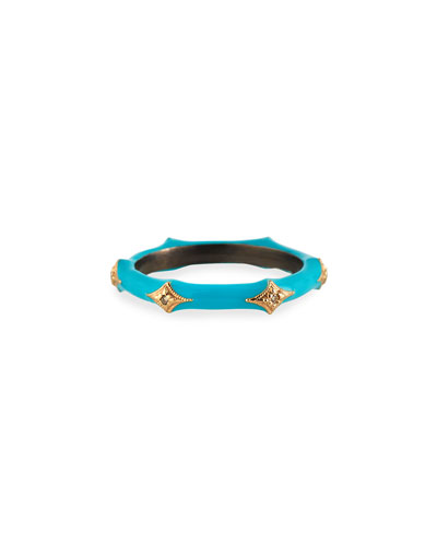New World Turquoise Enamel Diamond Crivelli Stack Ring, Size 6.5