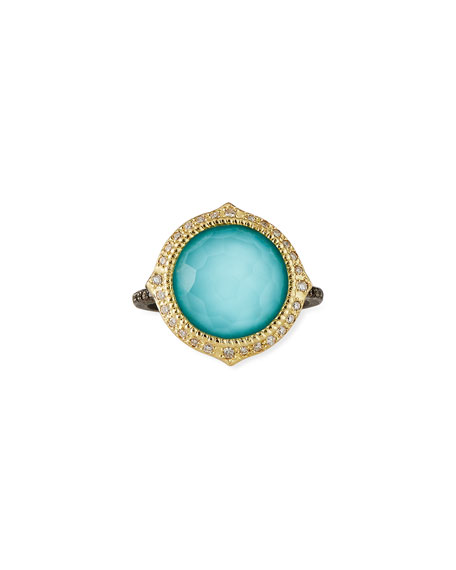 Armenta Old World Pointed Turquoise/Quart Ring w/ Diamonds, Size 6.5