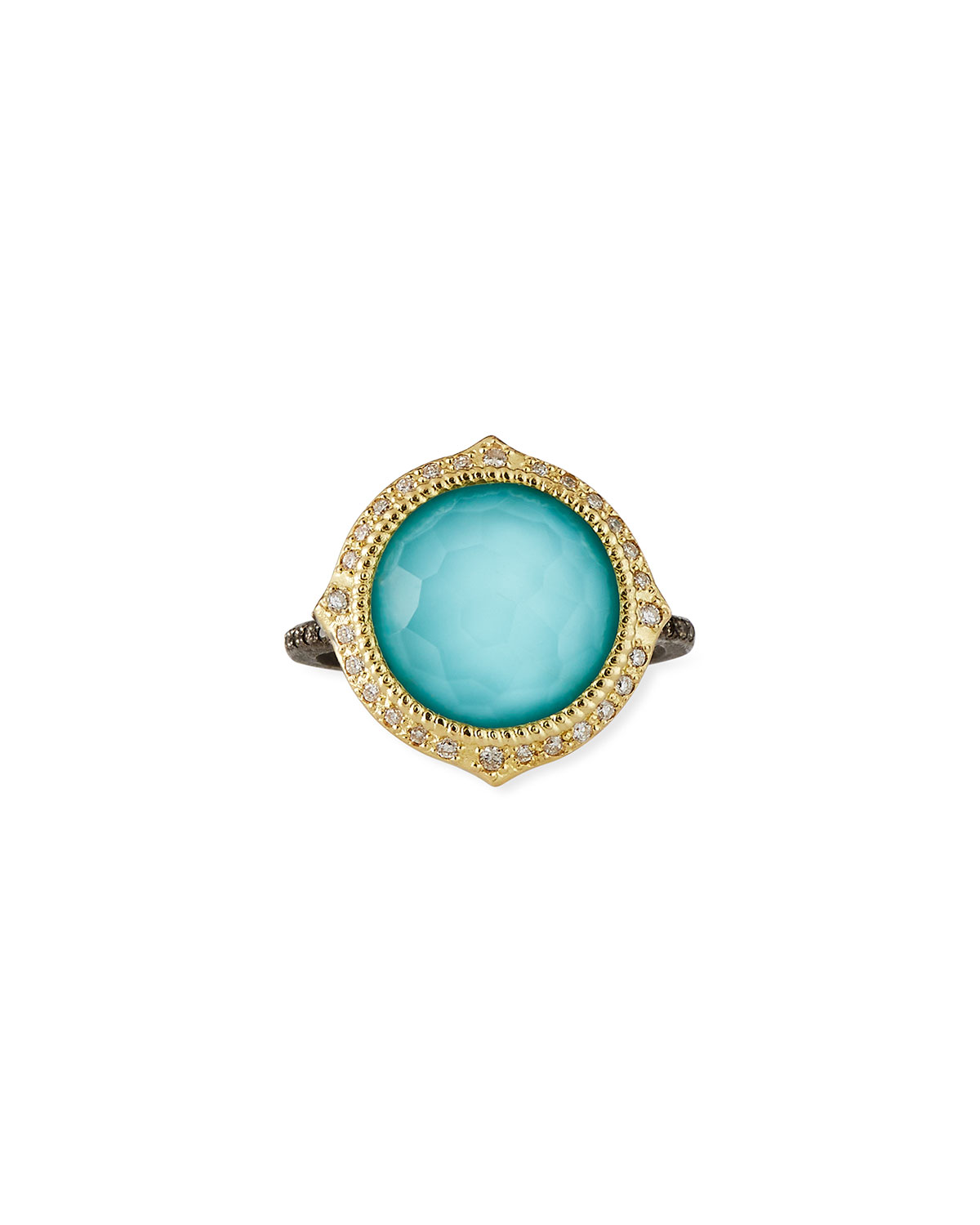 Old World Pointed Turquoise/Quart Ring w/ Diamonds