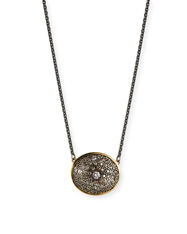 Old World Diamond Oval Pendant Necklace