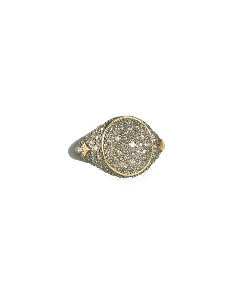 Armenta old World Diamond Pave Signet Ring, Size 6.5