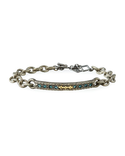 Old World Crivelli-Bar Bracelet w/ Diamonds & Tourmaline