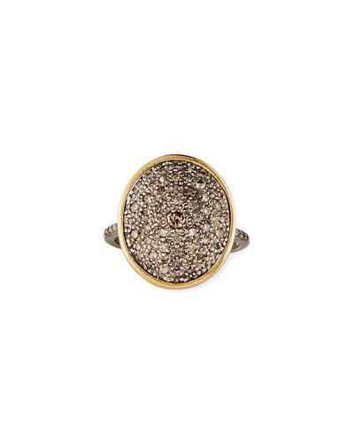 Old World Diamond Pave Oval Ring, Size 6.5