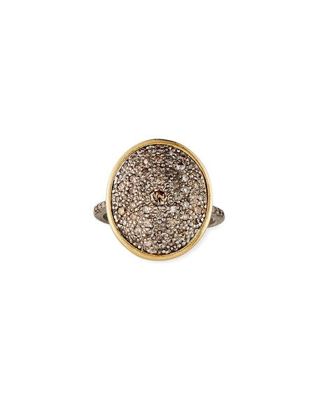 Armenta Old World Diamond Pave Oval Ring, Size 6.5