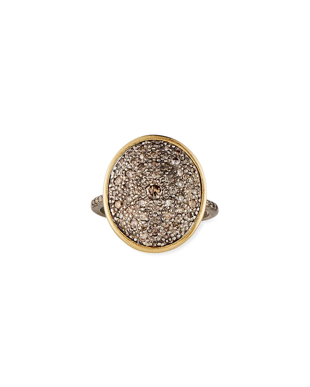 Old World Diamond Pave Oval Ring
