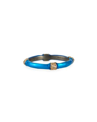New World Blue Zircon Enamel Ring w/ Diamonds, size 6.5