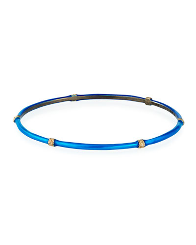New World Blue Zircon Enamel Bangle w/ Diamonds