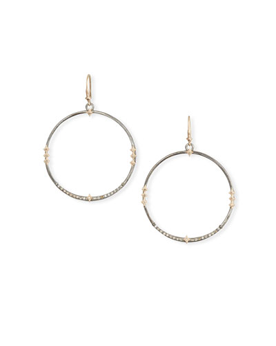 Cuento Hoop-Drop Earrings w/ Diamond Crivelli