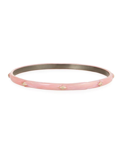 New World Enamel Bangle w/ 14k Gold Crivelli, Pink, Medium