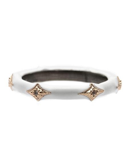 Armenta New World White Enamel Diamond Crivelli Stack Ring, Size 6.5