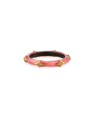 New World Pink Enamel Diamond Crivelli Stack Ring, Size 6.5