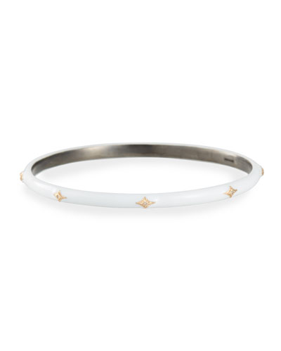 New World Enamel Bangle w/ 14k Gold Crivelli, White, Medium