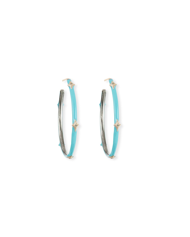 New World Enamel Earrings w/ 14k Gold Crivelli