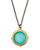 Armenta Old World Turquoise/Quartz Pendant Necklace w/ Diamonds