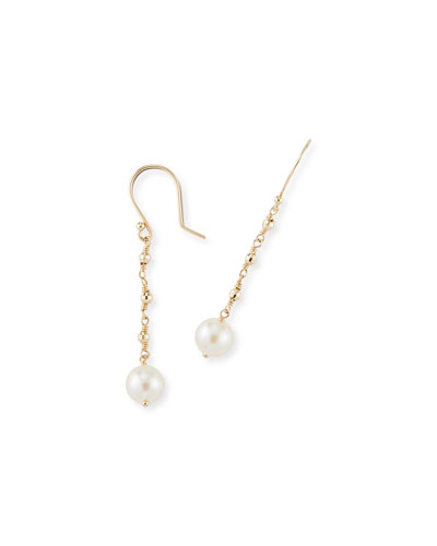 14k Gold Single-Pearl Drop Earrings