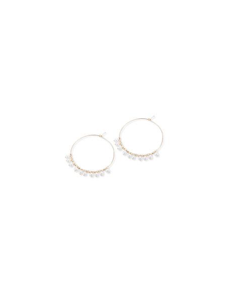 Mizuki 14k Gold Small Hoop & Pearl Dangle Earrings