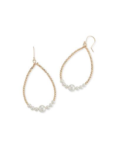 14k Gold Pearl Teardrop Hoop Earrings