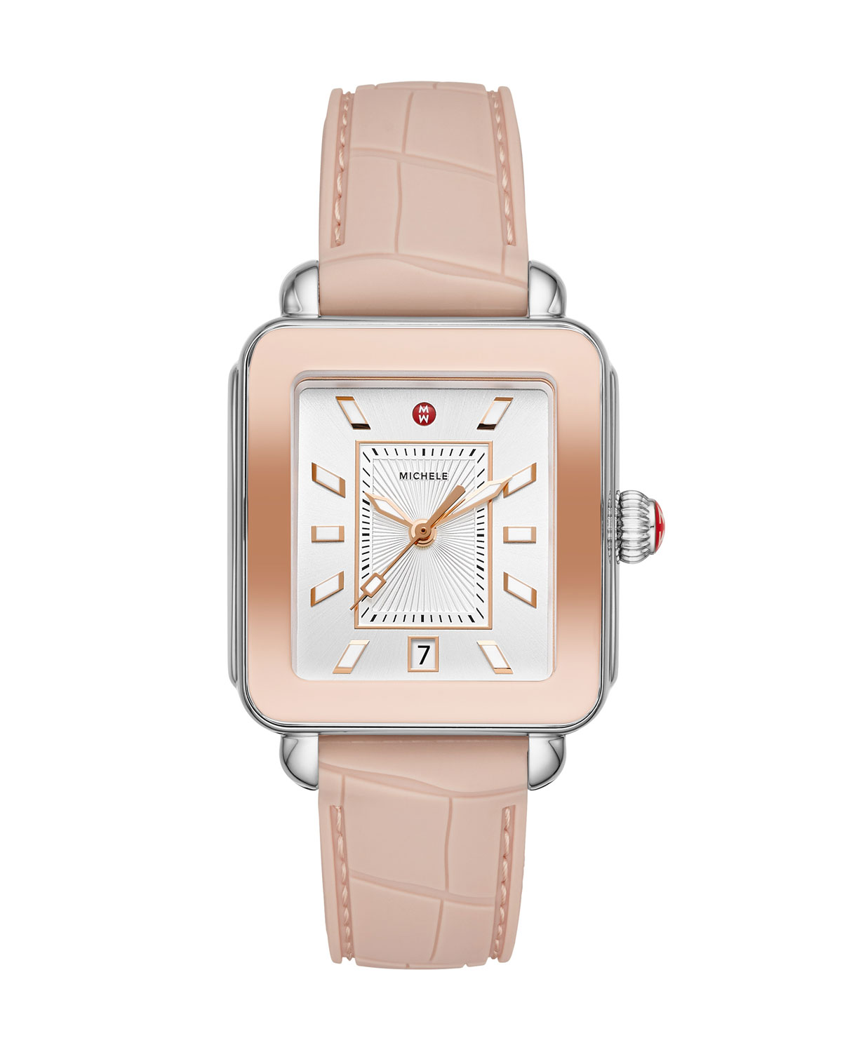 Deco Sport Silicone Embossed Watch in Desert Rose