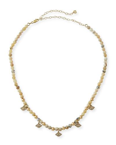 14k Diamond Evil Eye & Opal Necklace