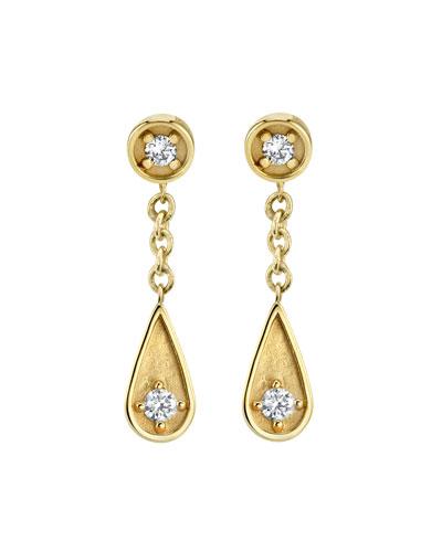 14k Diamond Post & Teardrop Earrings