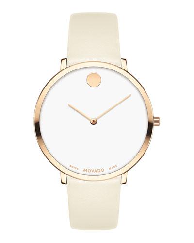 Ultra Slim Leather Watch, Carnation/White