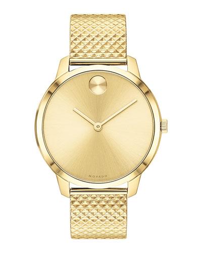 35mm Movado Bold Thin Watch w/ Mesh Bracelet, Gold