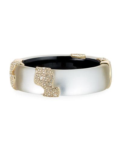 Crystal Encrusted Sectioned Hinge Bracelet, Silver