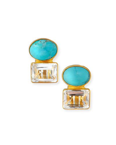 Turquoise & Quartz Earrings
