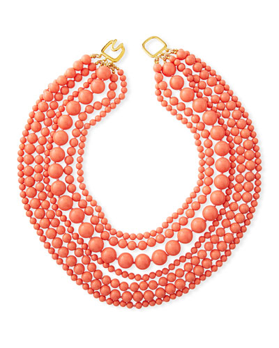 7-Strand Beaded Necklace, Coral