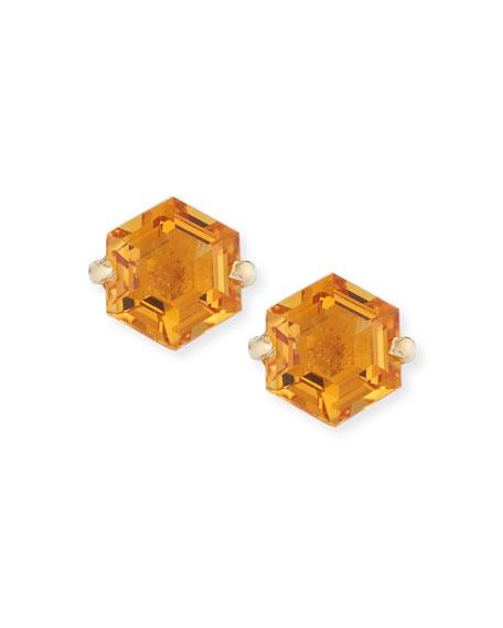 KALAN by Suzanne Kalan Amalfi 14k Yellow Gold Hexagon Stud Earrings, Light Orange